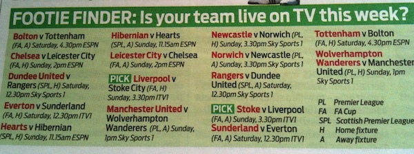footie finder TV Times   18th March 2012